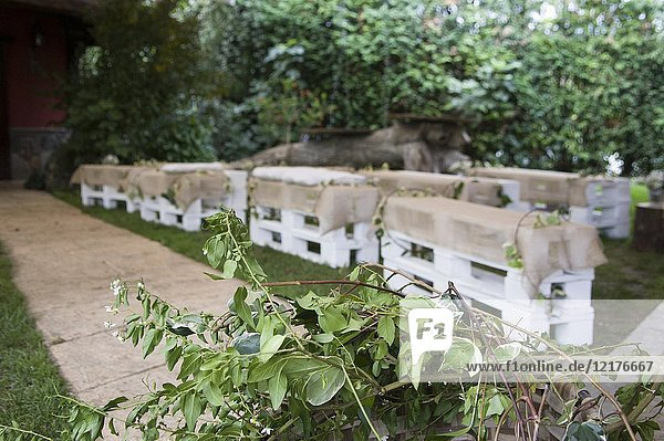 Garden center decorated for wedding party with wood benches in Jai Alai restaurant  Urrestilla  Basque Country  Spain.