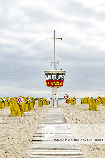 Germany  Schleswig-Holstein  Travemuende  beach  attendant's tower and hooded beach chairs