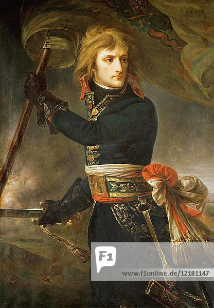 Napoleon at the Bridge of Arcole  after a painting by Antoine-Jean Gros  1771-1835. The painting describes an incident in which Napoleon personally led his men against their Austrian enemy in an attempt to raise morale during the Battle of Arcole  1796. Napoléon Bonaparte  1769 - 1821. French statesman and military leader.