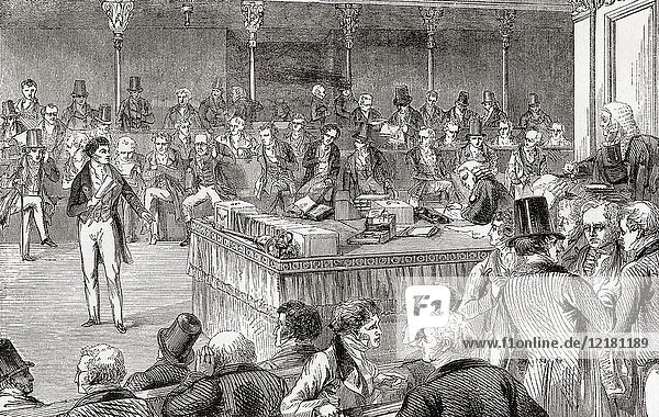 Lord John Russell introducing the Reform Bill in the House of Commons in 1832. John Russell  1st Earl Russell  1792 - 1878  aka Lord John Russell before 1861. Leading Whig and Liberal politician and two times Prime Minister of the United Kingdom. From Ward and Lock's Illustrated History of the World  published c. 1882.