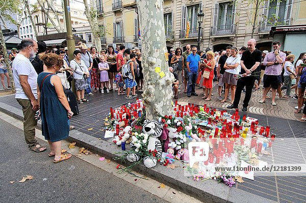 Flowers in tribute to the victims. On the afternoon of 17 August 2017  22-year-old Younes Abouyaaqoub drove a van into pedestrians on La Rambla in Barcelona  Catalonia  Spain  killing 13 people and injuring at least 130 others  one of whom died 10 days later on 27 August.