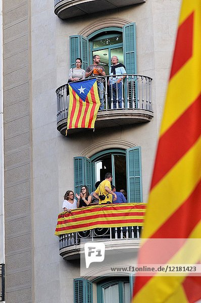 Senyeres  catalán flangs and estelades  independentist catalán flag. September 2017. Barcelona  Catalonia  Spain.