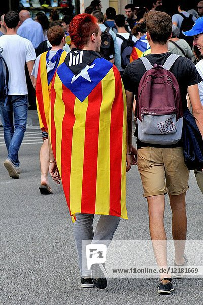 Pro-independence demonstration. Estelades (pro-independence flags). September 2017. Barcelona  Catalonia  Spain.