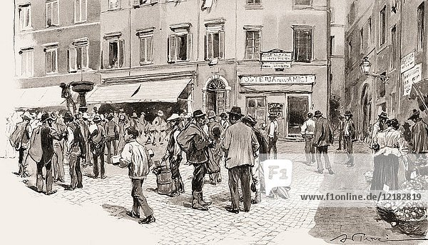 Farmersâ.market at the Piazza Montanara  Rome  Italy  19th Century.