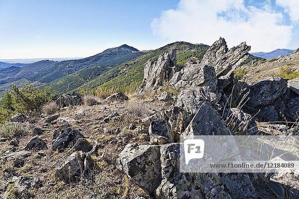 Cabra cliff from Montejo hill. Sierra Norte. Madrid. Spain.