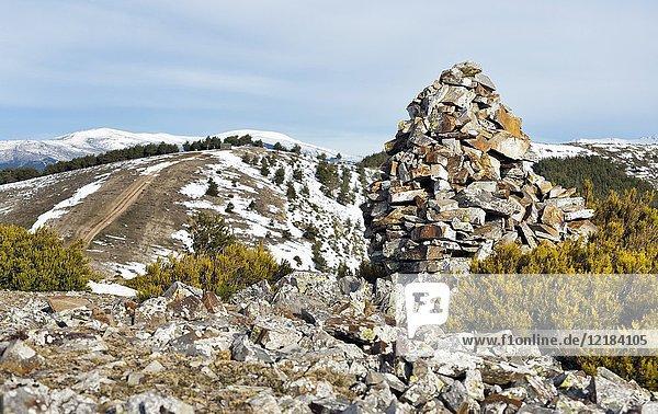 Milestones in the Tiesa pass. Sierra Norte. Madrid. Spain.