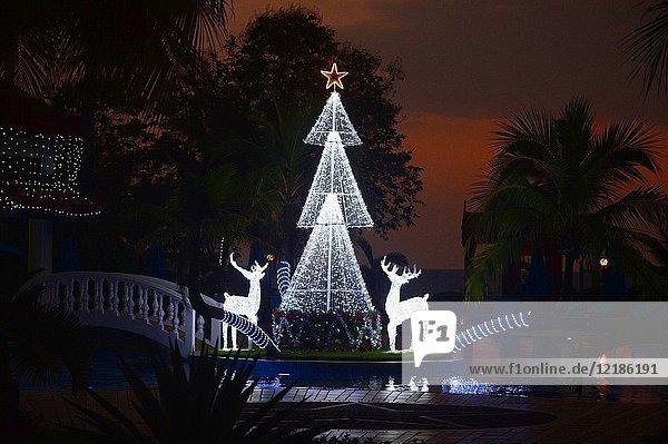 Christmas lighting at Sokha beach resort  Sihanoukville  Cambodia  South East Asia  Asia.
