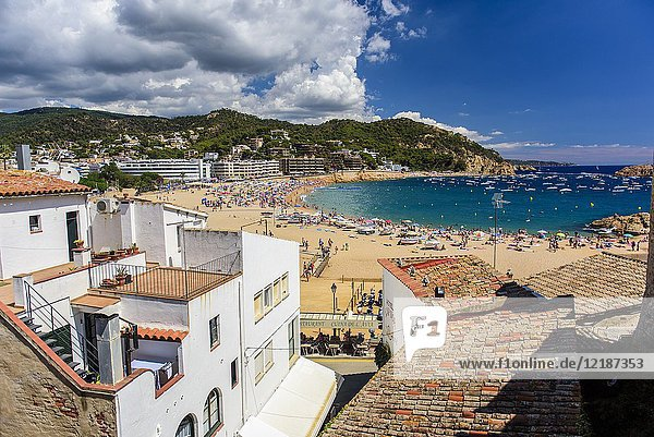 Beach of Tossa de Mar from Villa Vella  Costa Brava  Catalonia  Spain.