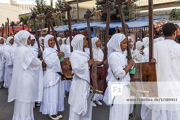 A Street Procession Of Ethiopian Orthodox Christians During The Annual Timkat (Epiphany) Celebrations  Addis Ababa  Ethiopia.