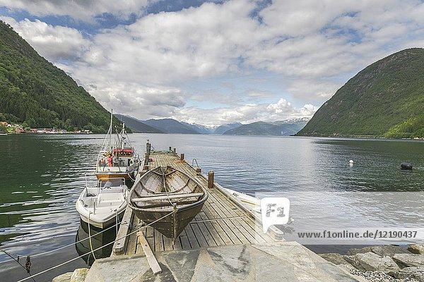 Landing stage of Vik  Norway  Sogn og Fjordane.
