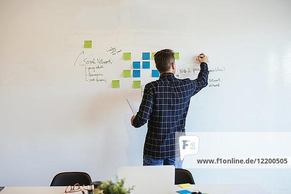 Geschäftsmann im Büro schriftlich auf Whiteboard