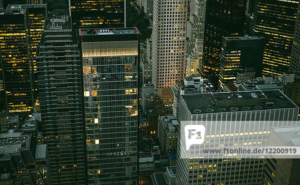 USA  New York  Manhattan  high-rise buildings at night
