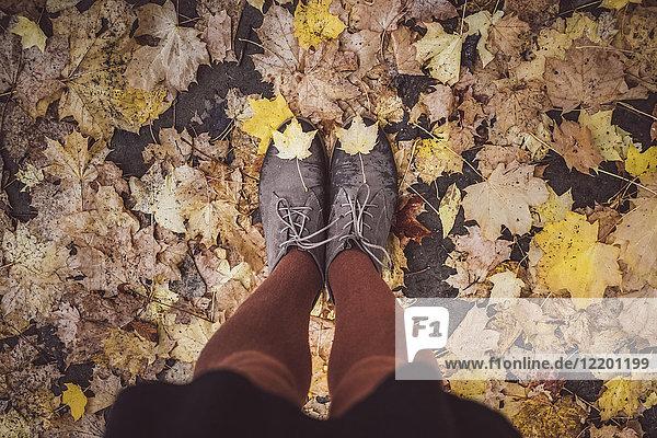 Junge Frau nimmt sich im Herbst die Beine ab  Teilansicht