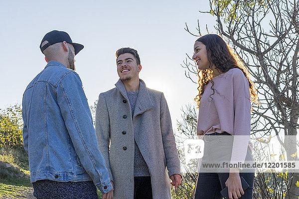 Drei lächelnde Freunde sprechen im Freien