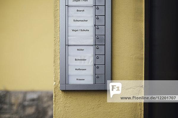 Deutschland  Klingeltastenfeld mit leerem Namensschild des verstorbenen Nachbarn