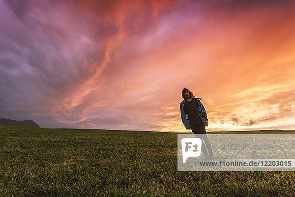 Österreich  Oberösterreich  junger Mann bei Sonnenuntergang auf der Wiese stehend