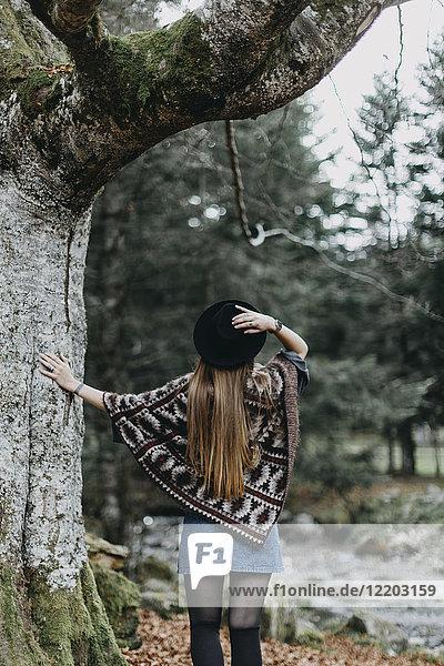 Rückansicht der jungen Frau mit Hut und Poncho im Herbstwald