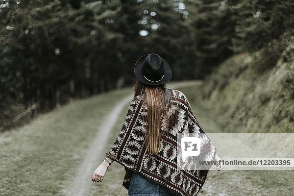 Rückansicht der modischen jungen Frau mit Hut und Poncho in der Natur
