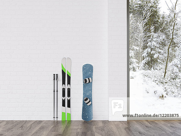 Ski und Snowboard an einer Wand mit Blick auf die Winterlandschaft,  3D-Rendering