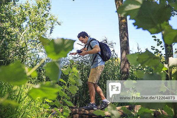 Mann mit Kamera balanciert auf Baumstamm in der Natur