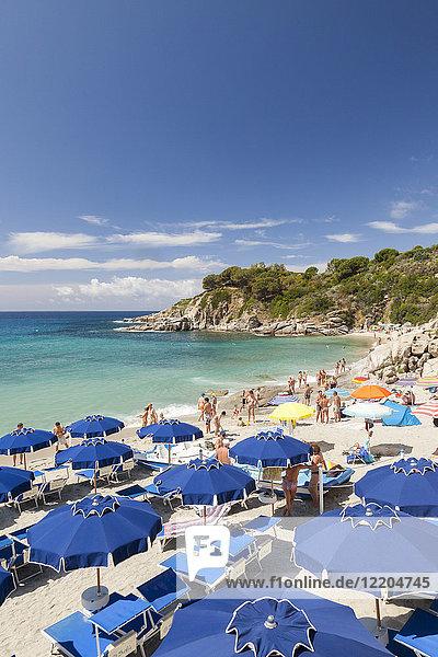 Sunbeds and beach umbrellas  Cavoli Beach  Marciana  Elba Island  Livorno Province  Tuscany  Italy  Europe