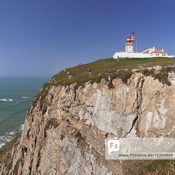 Lighthouse  Cabo da Roca  the westernmost point of Europe  Atlantic Ocean  Estremadura  Portugal  Europe