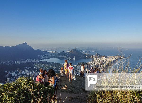 People on top of the Dois Irmaos Mountain  Rio de Janeiro  Brazil  South America