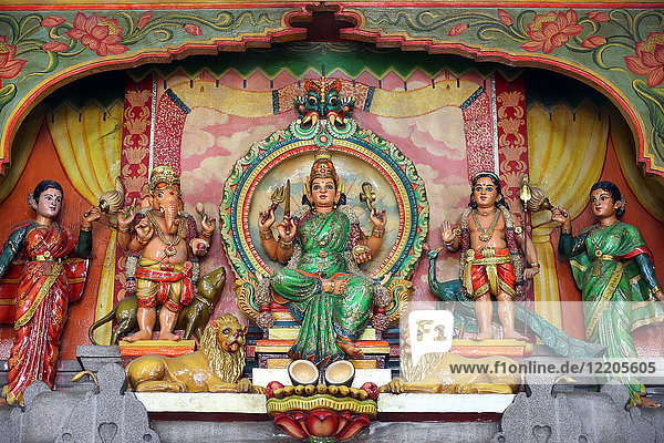 Hindu Gods Ganesh  Shiva and Durga  Mariamman Hindu Temple  Ho Chi Minh City  Vietnam  Indochina  Southeast Asia  Asia