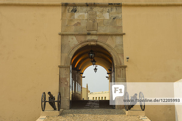 Entrance to the Fortaleza de Sao Miguel (St. Michael Fortress) now the Museum of the Armed Forces  Luanda  Angola  Africa