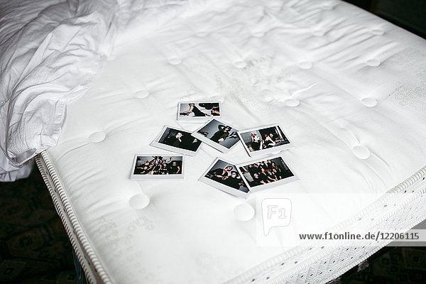 Photographs on bed mattress