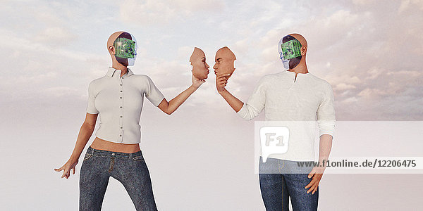 Robot couple holding removable face masks