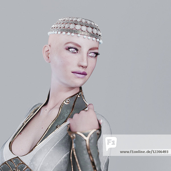 Futuristic woman wearing ornate headpiece