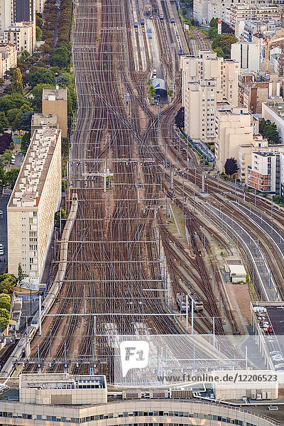 Intertwined railroad tracks in Paris  France