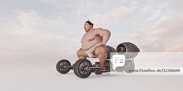 Sumo wrestler riding futuristic skateboard