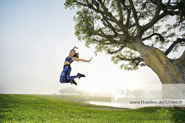 Mixed race women jumping in field near tree Mixed race women jumping in field near tree