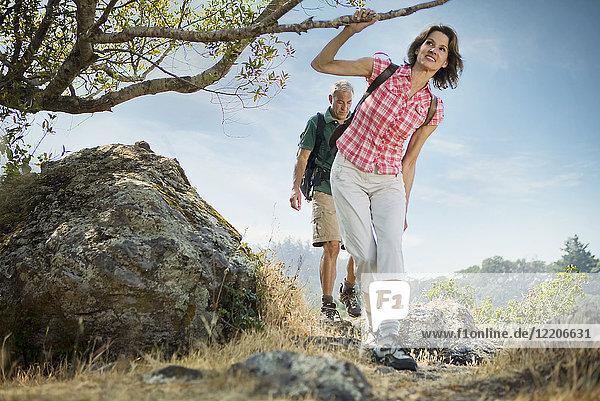 Couple hiking near tree