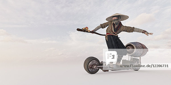 Traditional farmer riding futuristic skateboard