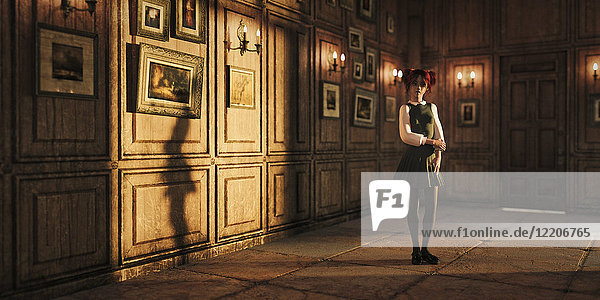 Girl standing in ornate room