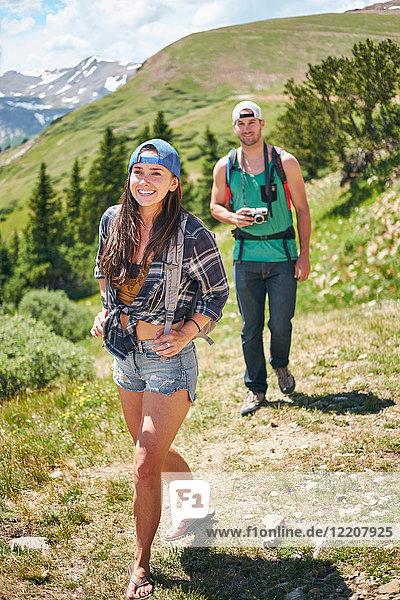 Couple hiking in Rocky mountains  Breckenridge  Colorado  USA