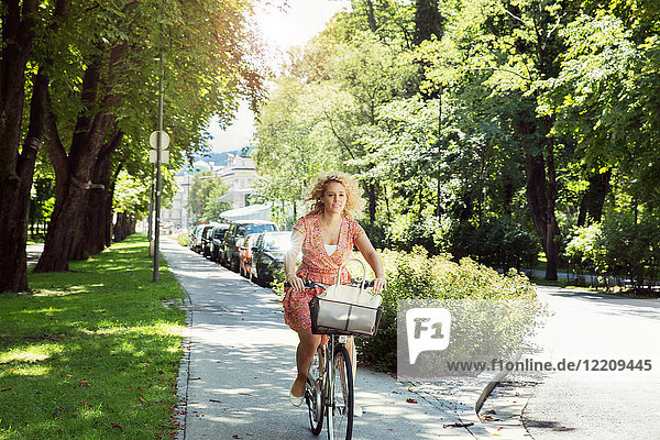 Woman cycling on bicycle in tree lined street  Innsbruck  Tirol  Austria  Europe