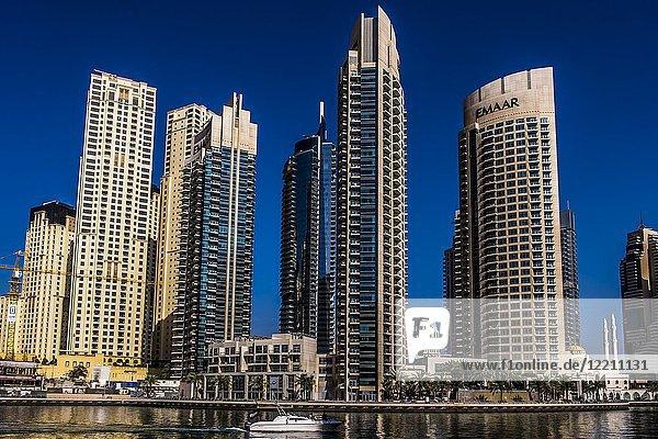 Supertall skyscrapers at Dubai Marina  Dubai  UAE.