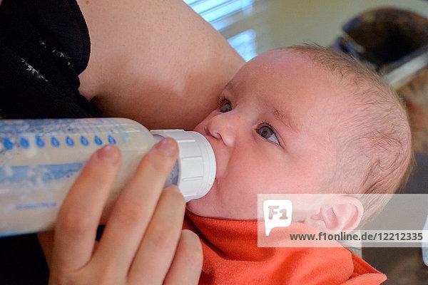 Frau füttert Baby Junge Junge Flasche Milch