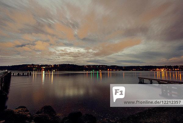Lights across water on coastline  Bainbridge  Washington  United States