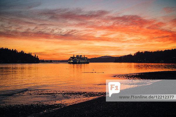 Ferry on Puget Sound at sunset  Bainbridge  Washington  United States