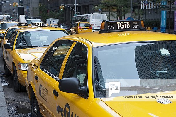 Yellow taxis in the area of Seaport and Civic Center  New York City  New York  United States of America  USA.