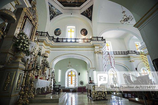 Interior of Church of Our Lady of Guadalupe (Iglesia de Nuestra Senõra de Guadalupe)  Puerto Vallarta  Jalisco State  Mexico.