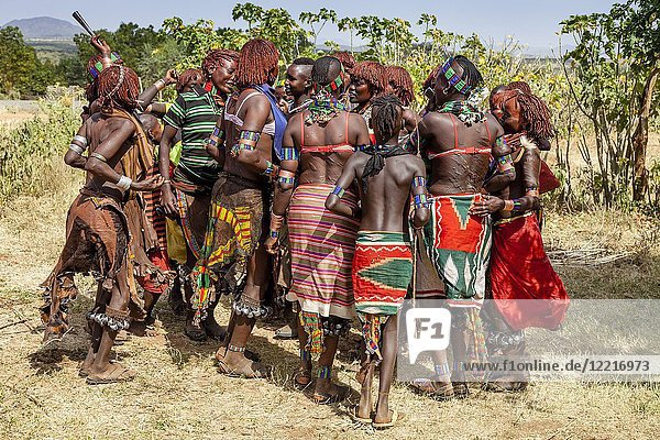 Young Hamar Women Dancing At A Bull Jumping Ceremony  Dimeka  Omo Valley  Ethiopia.