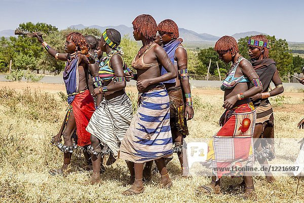 Hamar Tribe Women At A Bull Jumping Ceremony  Dimeka  Omo Valley  Ethiopia.