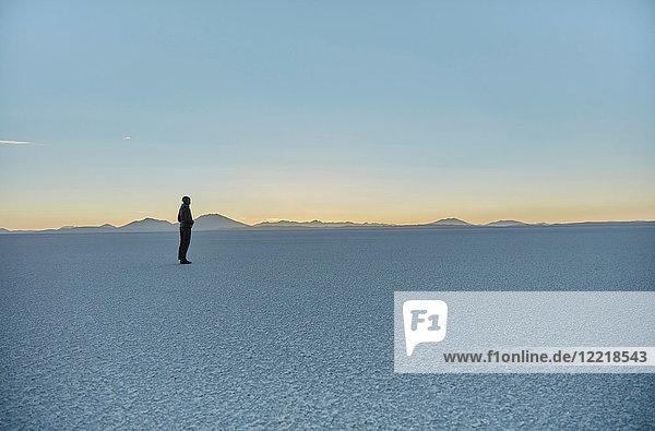 Frau steht auf Salinen und schaut auf die Aussicht  Salar de Uyuni  Uyuni  Oruro  Bolivien  Südamerika