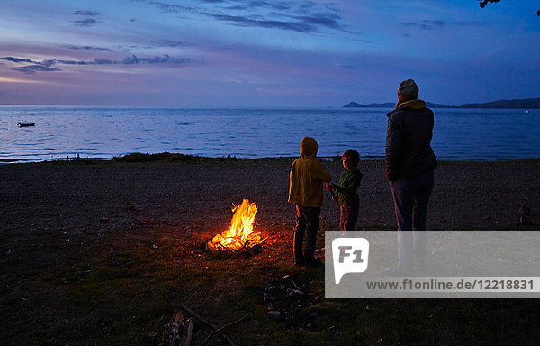 Mutter und Söhne am Lagerfeuer  Blick auf den See  Rückansicht  Copacabana  Oruro  Bolivien  Südamerika